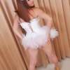Sassy & Cocky ladyboy Sapphire Young shows her hard phallus under her skirt